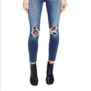 NWOT MOTHER High Waisted Looker Ankle Fray Jeans